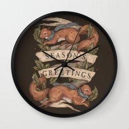 Red Squirrel Season's Greetings Wall Clock