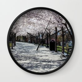 Cherry Blossoms Bloom along Sandy Path at Utah State Capitol Wall Clock