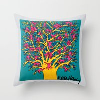 keith haring Throw Pillows featuring Keith Haring: The Tree of Monkeys by cvrcak