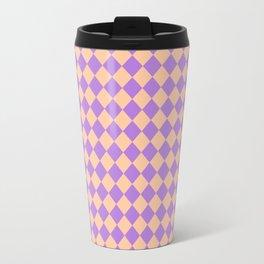 Deep Peach Orange and Lavender Violet Diamonds Travel Mug
