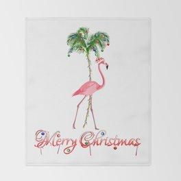 Merry Christmas Pink Flamingo Beach Xmas Throw Blanket