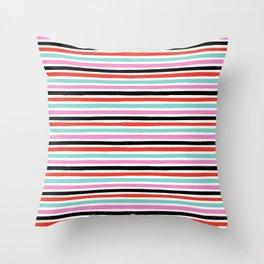 Abstract, Stripes, Red, Pink, Blue, Black, Pop art, Minimal, Pattern, Modern art Throw Pillow