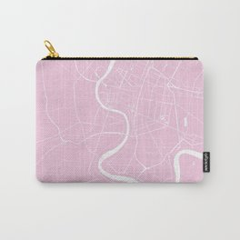 Bangkok Thailand Minimal Street Map - Pastel Pink and White Carry-All Pouch