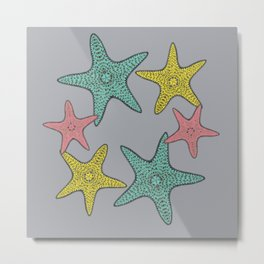 Starfish gray background Metal Print