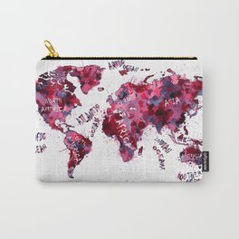 world map color splatter red Carry-All Pouch