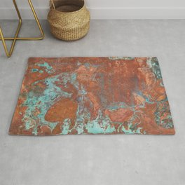 Tarnished Metal Copper Texture - Natural Marbling Industrial Art Rug