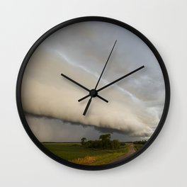 Shelf Cloud Over Country Road 1 Wall Clock