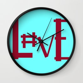 Baby Blue Hashtag L0ve Wall Clock