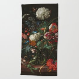 Jan Davidsz de Heem - Vase of Flowers (c.1660) Beach Towel
