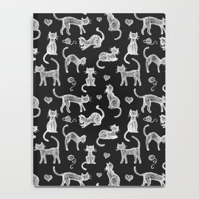 Teacher's Pet - chalk board cat pattern - white on black Notebook