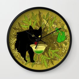 cat and green milk Wall Clock