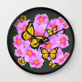 PINK ROSES YELLOW MONARCH  CHARCOAL ART Wall Clock