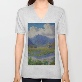 A Shower in the Mountains & Lily Pads, Manoa Valley, Hawaii landscape by Anna Woodward Unisex V-Neck