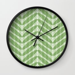 Green Frond Layers Wall Clock