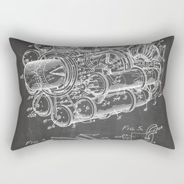 Airplane Jet Engine Patent - Airline Engine Art - Black Chalkboard Rectangular Pillow