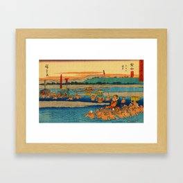 Porters Carry Travelers at Kanaya Japan Framed Art Print