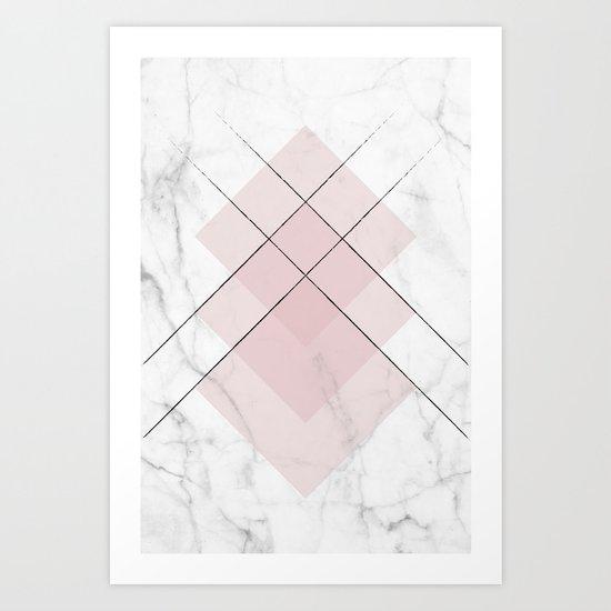 White Marble Scandinavian Geometric Blush Pink Squares Art Print