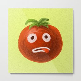 Funny Cartoon Tomato Metal Print