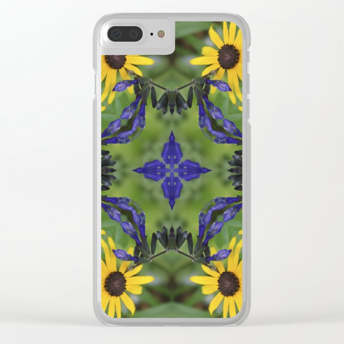 Blue Salvia Compass Points in a Ring of Rudbeckia Clear iPhone Case