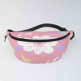 Pink Pattern with Flowers and butterflies Fanny Pack