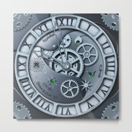Steampunk clock silver Metal Print