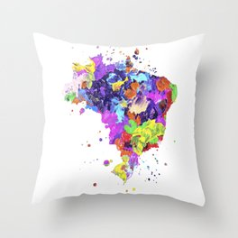 Brazil Map Throw Pillow