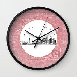 Beijing, China City Skyline Illustration Drawing Wall Clock