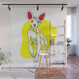 One Line Cat - Sphynx Wall Mural