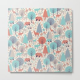 Woodland animals and trees pattern Metal Print