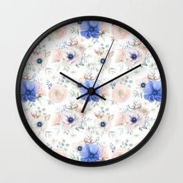 Blue + Pink Garden Floral Wall Clock