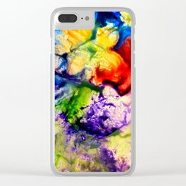Abstract Encaustic Colorful Flowers, Clear iPhone Case
