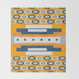 Geometry and ethnic pattern in yellow Throw Blanket