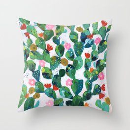 Cactus Wallpaper Pattern Throw Pillow