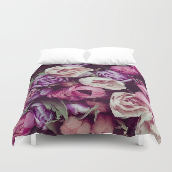 magnificent painted flowers Duvet Cover
