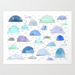 Whale party Art Print