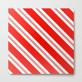 Candy Cane Stripes Holiday Pattern Metal Print