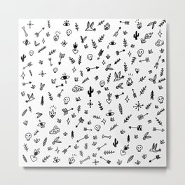 Mystic Forest - Illustration pattern Metal Print