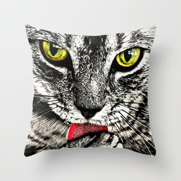 Grooming Tabby Cat Throw Pillow
