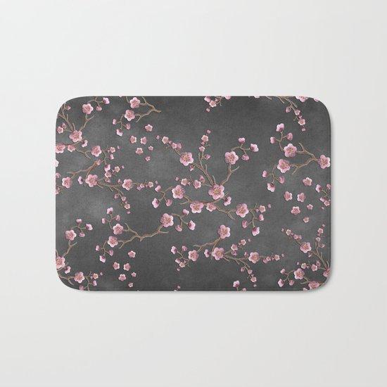 SAKURA LOVE - GRUNGE BLACK Bath Mat