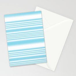 Sky Blue and White Stripes Stationery Cards