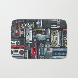 Vintage wall full of radio boombox of the 80s Bath Mat