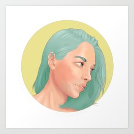 Green Haired Lady Art Print