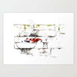 THE FOX IN THE BATHTUB Art Print