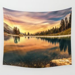 Lake Mountains and Sunset Wall Tapestry