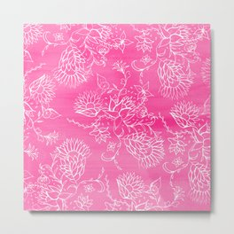 Elegant hand drawn floral pattern pink watercolor Metal Print