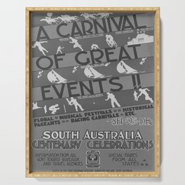 retro retro A carnival of great events poster Serving Tray