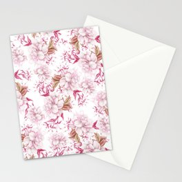 Modern pink blush purple pastel watercolor elegant floral Stationery Cards