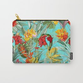 Vintage & Shabby Chic - Pierre-Joseph Redouté -Colorful Tropical Blue Garden Carry-All Pouch