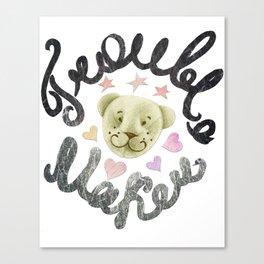 Trouble maker teddy bear Canvas Print