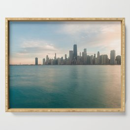 Tonight -Chicago Skyline Photography Serving Tray